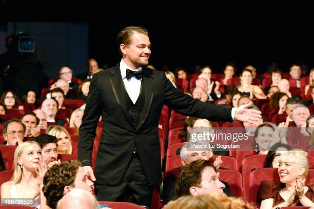 Leonardo DiCaprio poses during the Opening Ceremony of the 66th Annual Cannes Film Festival at the Palais des Festivals on May 15 2013 in Cannes...