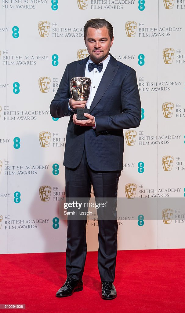 Leonardo DiCaprio poses in the winners room at the EE British Academy Film Awards at The Royal Opera House on February 14, 2016 in London, England.