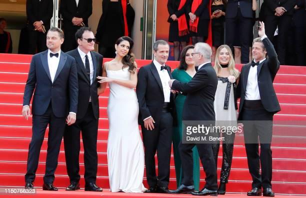 Leonardo DiCaprio Quentin Tarantino Daniela Tarantino David Heyman Shannon McIntosh Margot Robbie and Brad Pitt attend the screening of Once Upon A...