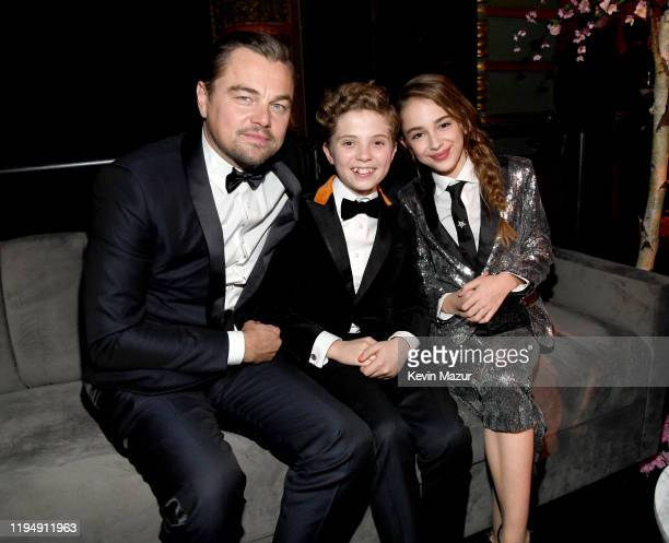 Leonardo DiCaprio, Roman Griffin Davis and Julia Butters attend PEOPLE's Annual Screen Actors Guild Awards Gala at The Shrine Auditorium on January...
