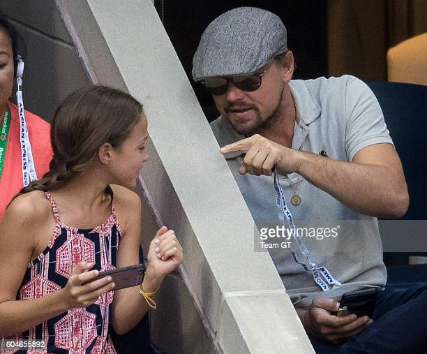 Leonardo DiCaprio seen taking selfie with a teenager girl at USTA Billie Jean King National Tennis Center on September 11, 2016 in the Queens borough...