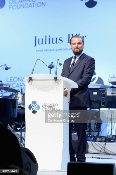 Leonardo DiCaprio speaks on stage during the Leonardo Dicaprio Foundation Launch at Domaine Bertaud Belieu on July 23 2014 in SaintTropez France