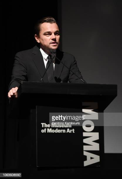 Leonardo DiCaprio speaks onstage at The Museum Of Modern Art Film Benefit Presented By CHANEL A Tribute To Martin Scorsese on November 19 2018 in New...