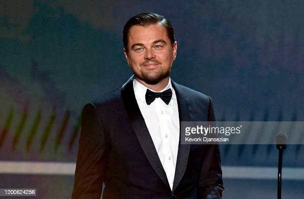 Leonardo DiCaprio speaks onstage during the 26th Annual Screen ActorsGuild Awards at The Shrine Auditorium on January 19 2020 in Los Angeles...