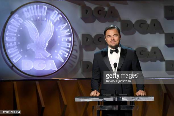 Leonardo DiCaprio speaks onstage during the 72nd Annual Directors Guild Of America Awards at The Ritz Carlton on January 25 2020 in Los Angeles...