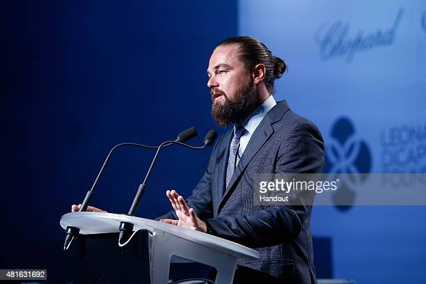 Leonardo DiCaprio speaks onstage during The Leonardo DiCaprio Foundation 2nd Annual SaintTropez Gala at Domaine Bertaud Belieu on July 22 2015 in...