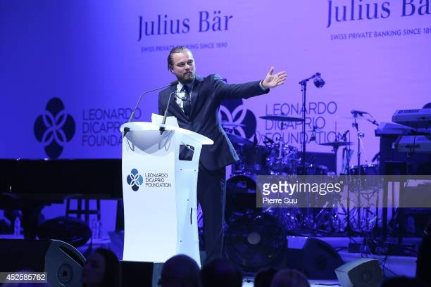 Leonardo Dicaprio speaks onstage during the Leonardo Dicaprio Foundation Inaugurational Gala at Domaine Bertaud Belieu on July 23 2014 in SaintTropez...