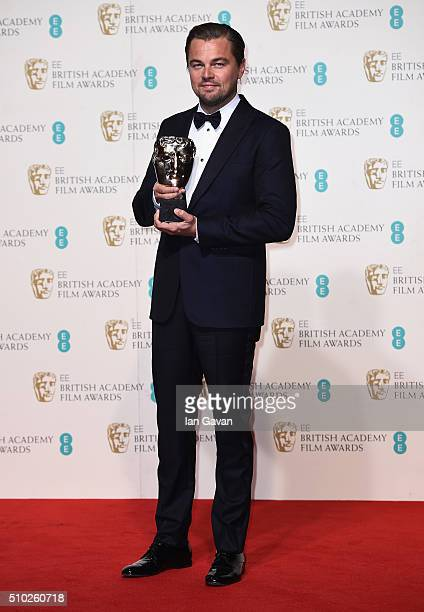 Leonardo Dicaprio winner of Best Actor for 'The Revenant' poses in the winners room at the EE British Academy Film Awards at the Royal Opera House on...