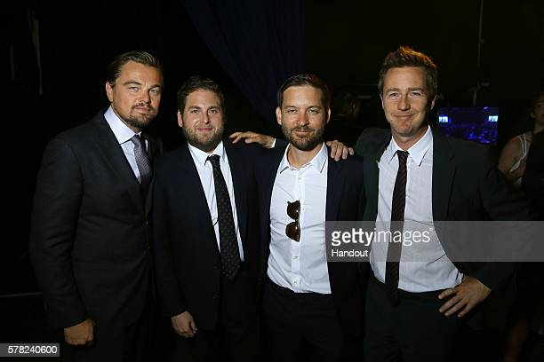 Leonardo DiCaprioJonah Hill Tobey Maguire and Edward Norton attend the Dinner Auction during The Leonardo DiCaprio Foundation 3rd Annual SaintTropez...