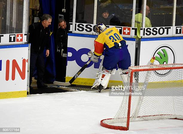 Leonardo Genoni of HC Davos during the Champions Hockey League semi final between Frolunda Gothenburg and HC Davos at Frolundaborgs Isstadion on...