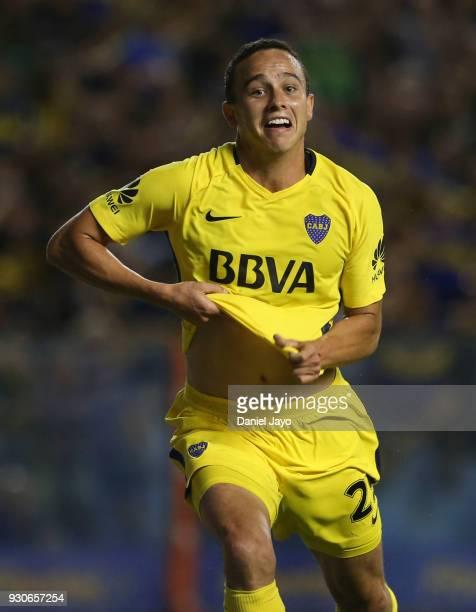 Leonardo Jara of Boca Juniors celebrates after scoring during a match between Boca Juniors and Tigre as part of the Superliga 2017/18 at Alberto J...