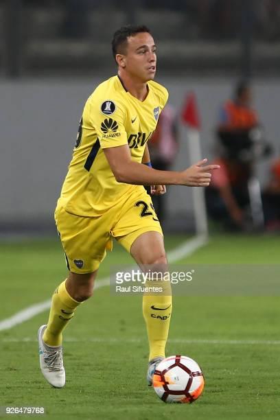 Leonardo Jara of Boca Juniors drives the ball during a groups stage match between Alianza Lima and Boca Juniors as part of Copa Conmebol Libertadores...