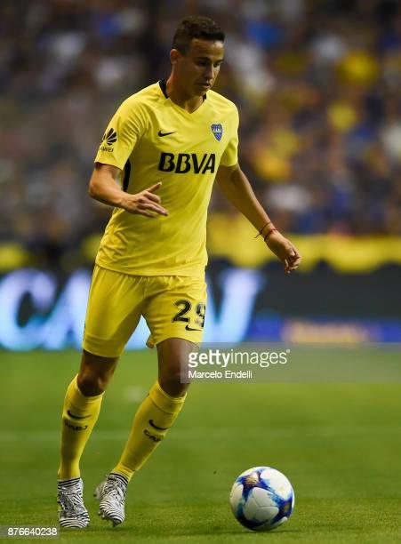 Leonardo Jara of Boca Juniors drives the ball during a match between Boca Juniors and Racing Club as part of the Superliga 2017/18 at Alberto J...
