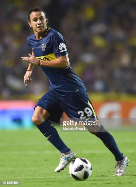 Leonardo Jara of Boca Juniors drives the ball during a match between Boca Juniors and Colon as part of the Superliga 2017/18 at Alberto J Armando...