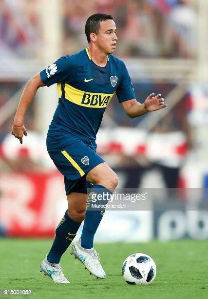 Leonardo Jara of Boca Juniors drives the ball during a match between San Lorenzo and Boca Juniors as part of the Superliga 2017/18 at Pedro Bidegain...
