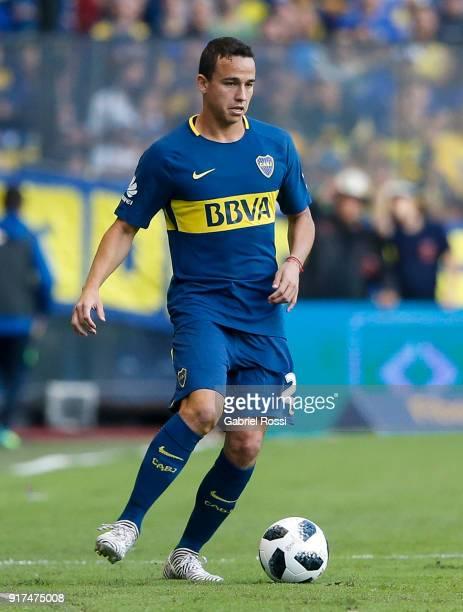 Leonardo Jara of Boca Juniors drives the ball during a match between Boca Juniors and Temperley as part of the Superliga 2017/18 at Alberto J Armando...