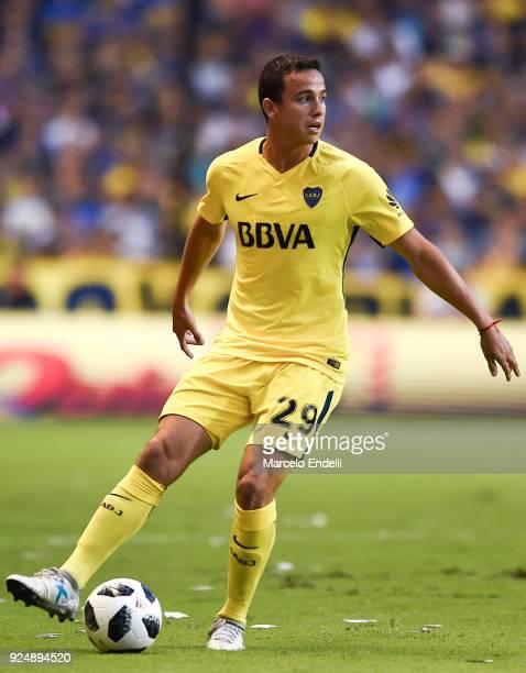Leonardo Jara of Boca Juniors drives the ball during a match between Boca Juniors and San Martin de San Juan as part of the Superliga 2017/18 at...
