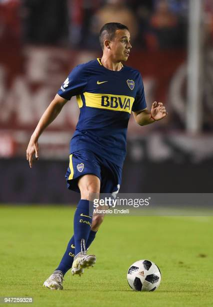Leonardo Jara of Boca Juniors drives the ball during a match between Independiente and Boca Juniors as part of Superliga 2017/18 on April 15 2018 in...