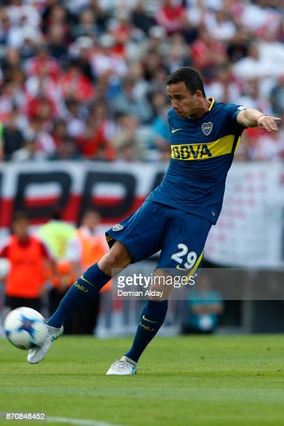 Leonardo Jara of Boca Juniors in action during a match between River Plate and Boca Juniors as part of the Superliga 2017/18 at Monumental Stadium on...