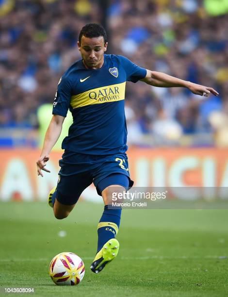 Leonardo Jara of Boca Juniors kicks the ball during a match between Boca Juniors and River Plate as part of Superliga 2018/19 at Estadio Alberto J...