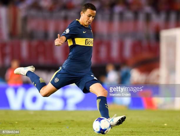 Leonardo Jara of Boca Juniors kicks the ball during a match between River Plate and Boca Juniors as part of the Superliga 2017/18 at Monumental...