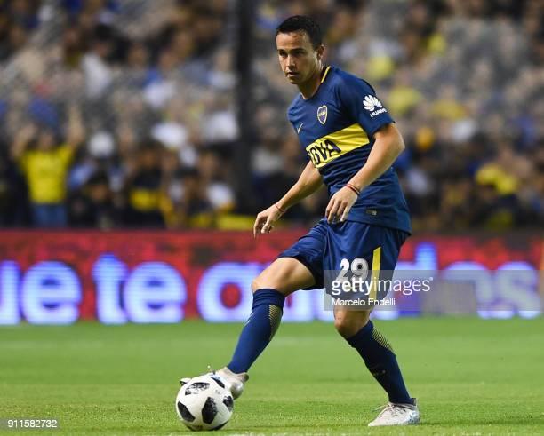 Leonardo Jara of Boca Juniors kicks the ball during a match between Boca Juniors and Colon as part of the Superliga 2017/18 at Alberto J Armando...