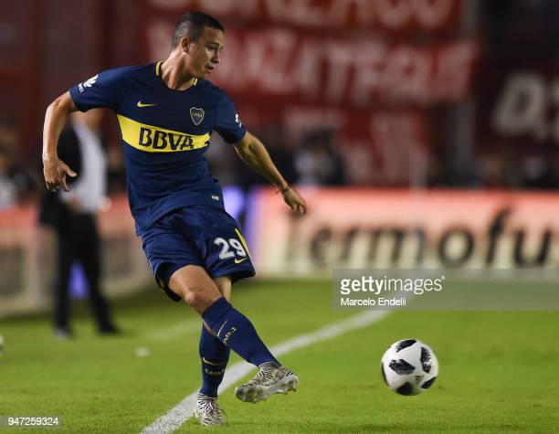 Leonardo Jara of Boca Juniors kicks the ball during a match between Independiente and Boca Juniors as part of Superliga 2017/18 on April 15 2018 in...