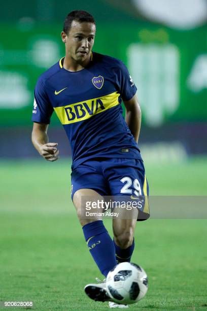 Leonardo Jara of Boca Juniors plays the ball during a match between Banfield and Boca Juniors as part of Argentina Superliga 2017/18 on February 18...