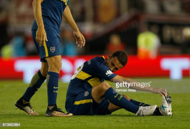 Leonardo Jara of Boca Juniors reacts after being injured during during a match between River Plate and Boca Juniors as part of the Superliga 2017/18...