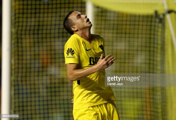 Leonardo Jara of Boca Juniors reacts after missing a chance to score during a match between Boca Juniors and Tigre as part of the Superliga 2017/18...