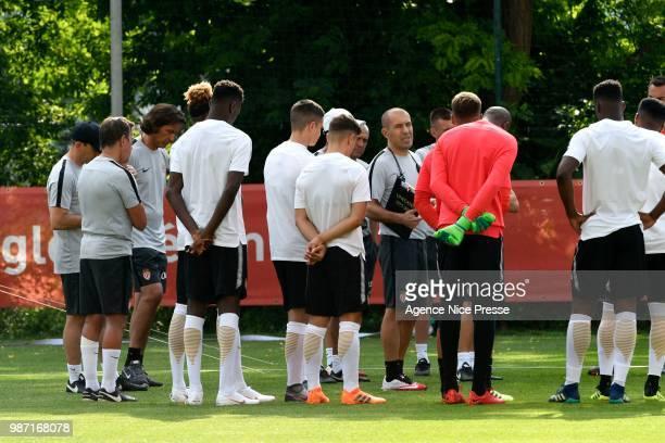 Leonardo Jardim coach of Monaco and players during first training session of new season 2018/2019 on June 29 2018 in Monaco Monaco