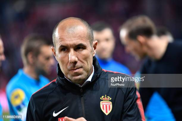 Leonardo Jardim, head coach of AS Monaco during the french Ligue 1 match between Paris Saint-Germain and AS Monaco at Parc des Princes stadium on...