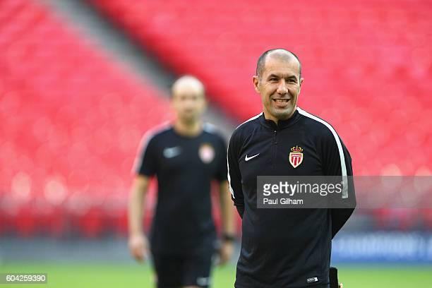 Leonardo Jardim head coach of AS Monaco looks on during the AS Monaco training session ahead of their UEFA Champions League Group E match against...