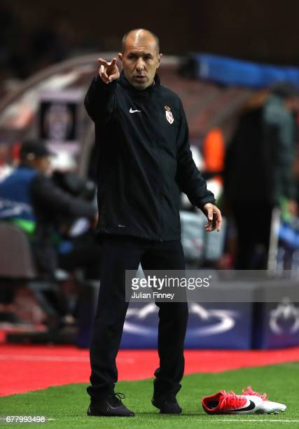 Leonardo Jardim head coach of AS Monaco reacts during the UEFA Champions League Semi Final first leg match between AS Monaco v Juventus at Stade...