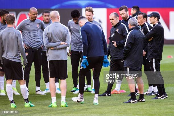 Leonardo Jardim head coach of AS Monaco talks to the players during a training session prior the UEFA Champions League Quarter Final First Leg match...