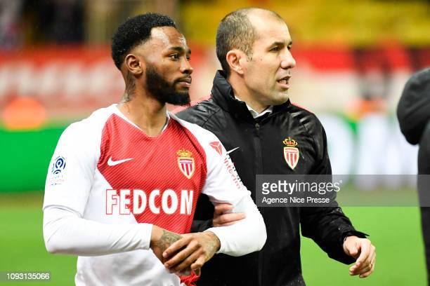 Leonardo Jardim head coach of Monaco and Georges Nkoudou during the Ligue 1 match between Monaco and Toulouse at Stade Louis II on February 2, 2019...