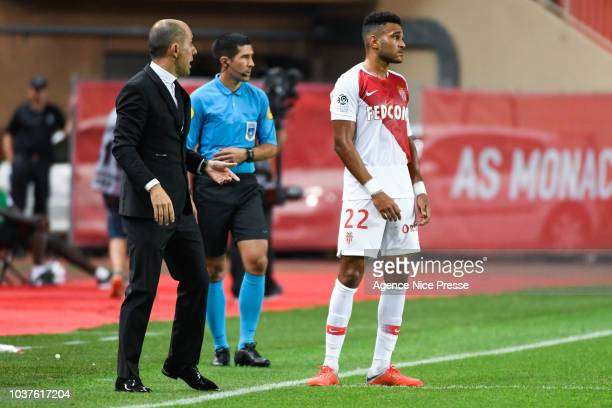 Leonardo Jardim head coach of Monaco and Jordi Mboula during the Ligue 1 match between AS Monaco and Nimes at Stade Louis II on September 21 2018 in...