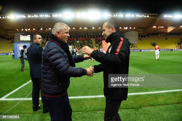 Leonardo Jardim head coach of Monaco and Patrice Garande coach of Caen during the french League Cup match Round of 16 between Monaco and Caen on...