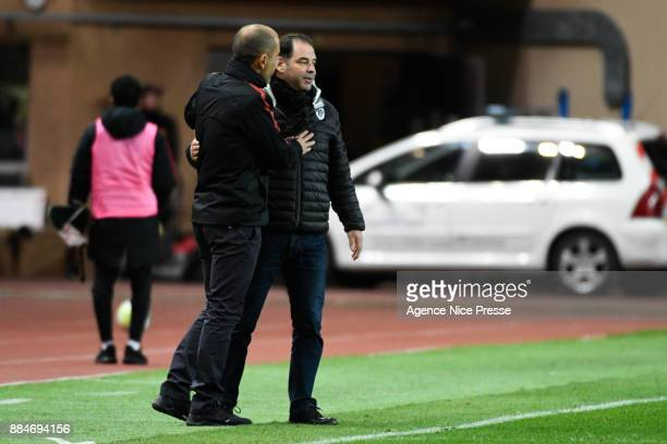 Leonardo Jardim head coach of Monaco and Stephane Moulin coach of Angers during the Ligue 1 match between AS Monaco and Angers SCO at Stade Louis II...