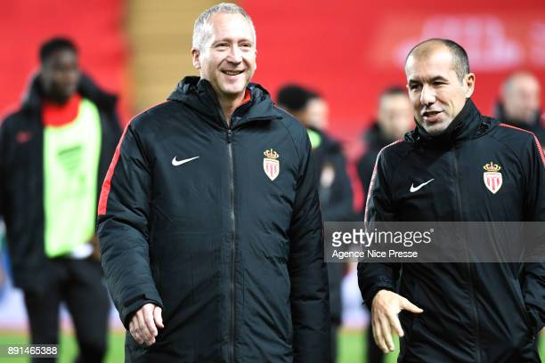 Leonardo Jardim head coach of Monaco and Vadim Vasilyev vice president during the french League Cup match Round of 16 between Monaco and Caen on...