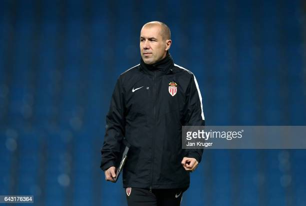 Leonardo Jardim manager of Monaco looks on during a Monaco Training Session and Press Conference ahead of their UEFA Champions League Round of 16...