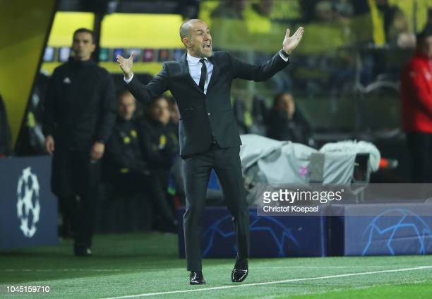 Leonardo Jardim, Manager of Monaco reacts during the Group A match of the UEFA Champions League between Borussia Dortmund and AS Monaco at Signal...