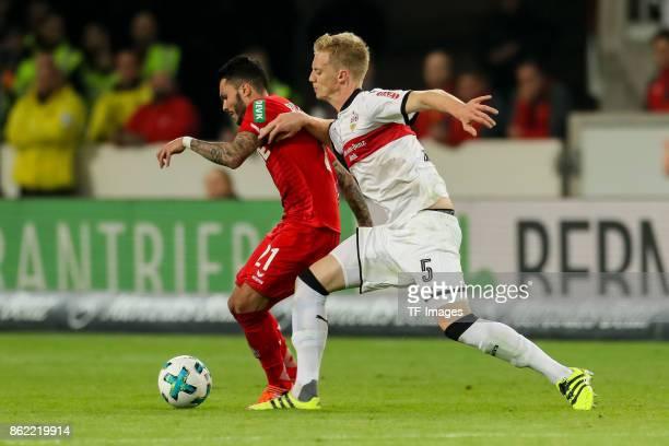 Leonardo Jesus Loureiro Bittencourt of Koeln and Timo Baumgartl battle for the ball during the Bundesliga match between VfB Stuttgart and 1 FC Koeln...