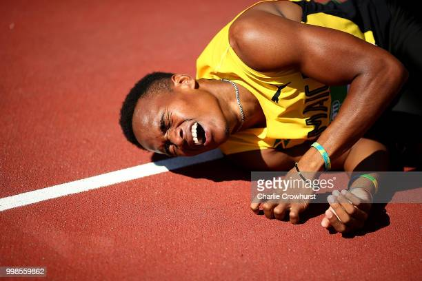 Leonardo Ledgister of Jamaica reacts following the final of the mens 400m hurdles on day five of The IAAF World U20 Championships on July 14 2018 in...