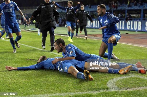 Leonardo Mancuso of Empoli FC celebrates after scoring a goal during the Serie B match between Empoli FC and SPAL at Stadio Carlo Castellani on...