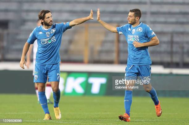 Leonardo Mancuso of Empoli FC celebrates after scoring a goal during the Serie B match between Empoli FC and Reggina at Stadio Carlo Castellani on...