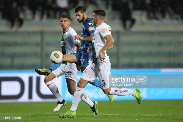 Leonardo Mancuso of Empoli FC scores the opening goal during the Serie B match between Empoli FC and Venezia FC at Stadio Carlo Castellani on...
