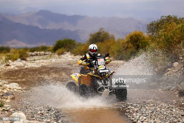 Leonardo Martinez of Bolivia and CANAM rides a Renegade 800 CANAM quad bike in the Classe GQ1 2 Roues Motrices 0during stage eleven of the 2018 Dakar...
