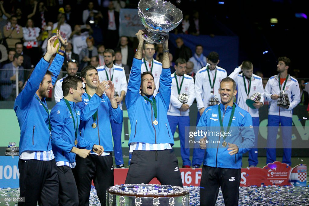 Leonardo Mayer, Guido Pella, Federico Del Bonis, Juan Martin Del Potro of Argentina and Argentina team captain Daniel Orsanic celebrate with their personal trophy after winning the 2016 Davis Cup Final between Croatia and Argentina on November 27, 2016 in Zagreb, Croatia.