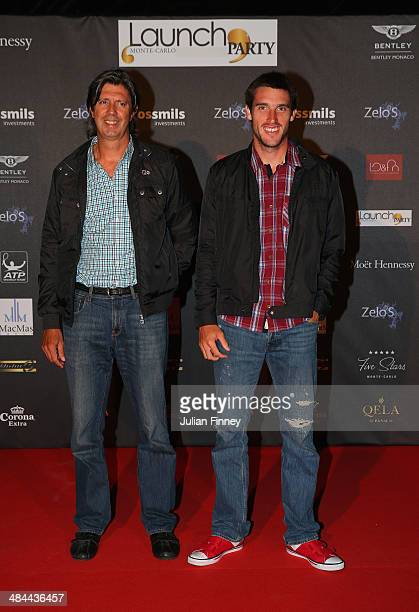 Leonardo Mayer of Argentina and guest during the ATP Monte Carlo Rolex Masters Launch Party at the Grimaldi Forum on April 12 2014 in Monaco Monaco